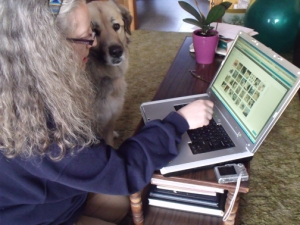 Stella working on her blog with Elizabeth, her scribe