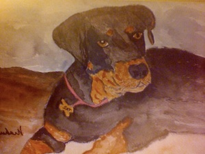 Tazzie, painted by Paulette (this is the beloved dog mentioned in the newspaper article)