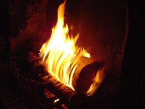 Log fire (from Wiki Commons)