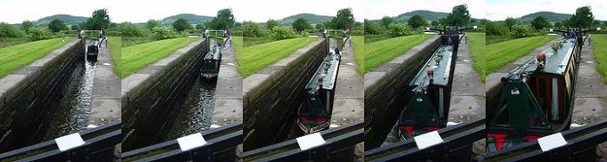 In this sequence of pictures you can see the boat enter and, when the lock is closed, water is allowed in to raise the  level of the boat