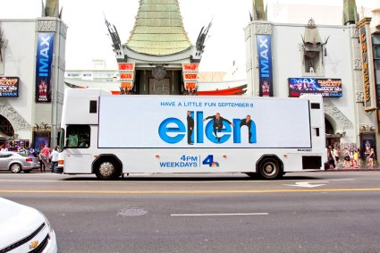 Ellen on Zeusvision digital media bus, Chinese Theatre, Hollywood