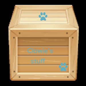 Wooden box labelled Clowie's stuff