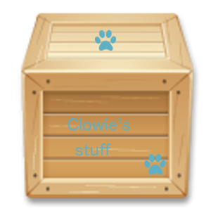 Wooden box labelled Clowie's stuff